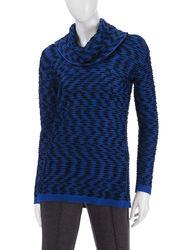 Calvin Klein Women's Marled Knit Sweater - Blue Multi - Size: XL
