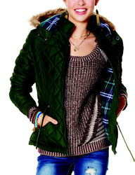 YMI Women's Ivory Hooded Puffer Jacket - Olive - Size: L