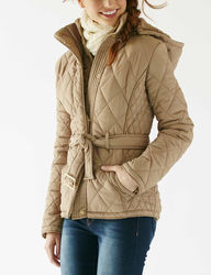 YMI Women's Quilted Puffer Jacket with Hood - Beige - Size: Large