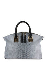 London Fog Women's Smithfield Faux Snake Skin Satchel Handbag - Grey