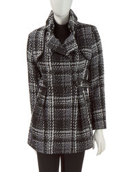 A. Byer Women's Double-Breasted Walker Coat - Black/White - Medium