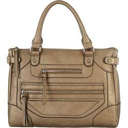 Bueno Women's Smooth Zippered Satchel Handbag - Bronze