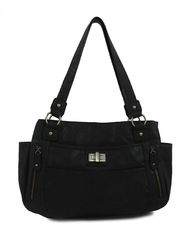 Bueno Women's Veg Turnlock Satchel - Black