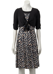 Perceptions Women's Leopard Dress & Shrug Set - Black/Tan - Sz: Medim/AV/R
