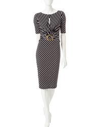 Sangria Women's Striped Midi Dress - Black/White - Size: 16