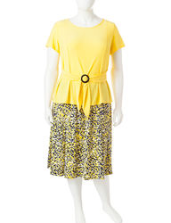 Perceptions Women's 2-pc Plus-Size Solid Color Skirt - Yellow - Size: 2X