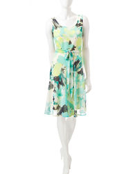 Madison Leigh Women's Floral Print Dress - Aqua - Size: 12