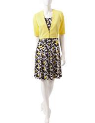 Perceptions Women's 2-Pc Abstract Print Dress Set - Yellow/Black - Size:12