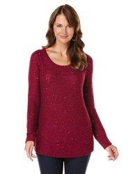 Rafaella Women's Solid Color Sequin Sweater - Red -Size: XL