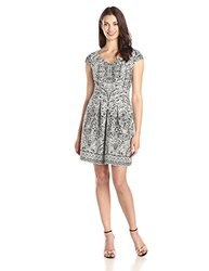 Sandra Darren Women's V Neck Fit and Flare Dress - Black/White - Size: 14