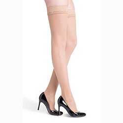 Sigvaris EverSheer 781NMSW33 15-20 Mmhg Closed Toe Medium Short Thigh Hosiery For Women, Natural