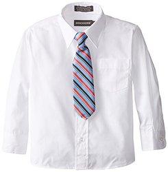 Dockers D473010 Kids Boys Full Sleeves Shirt & Tie Set - White - Size: 5