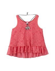 Beautees Girl's Layered Lace Hi Low Tank Top - Coral - Size: Medium