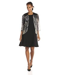 S.L. Fashions Women's Leather Printed Jacket Dress - Black/Grey - Size: 8