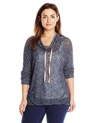 Spoiled Junior's Cowl Neck Long Sleeve Pullover Top - Navy - Size: XL