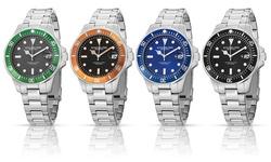 Stuhrling Original Men's Luminous Sport Aquadiver Watch - Black