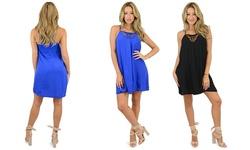 OhConcept Women's Glam Lace Up Swing Dress - Royal Blue - Size: Medium