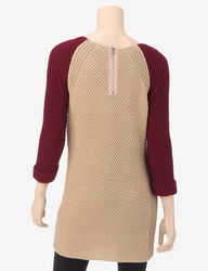 Hannah Women's Color Block Knit Sweater - Beige - Size: Medium