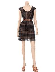 City Triangles Girls Junior Lace Dress - Black/Tan - Size: 11