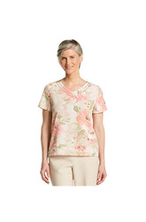 Alfred Dunner Women's Romancing The Stone Floral Print Blouse - Pink - 12