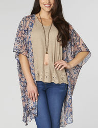 Democracy Women's Paisley Print Long Kimono Top - Blue/Multi - Size: Large