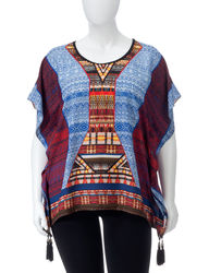NY Collection Women's Tribal Print Poncho Top - Multi - Size: XL