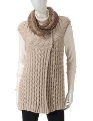 Hannah Women's Taupe Faux Fur Trim Cable Knit Vest - White - Size: Large