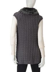 Hannah Women's Heather Eclipse Faux Fur Trim Cable Knit Vest - Black - XL