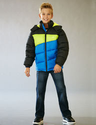 Vertical 9 Boy's Puffer Jacket - Blue/Black - Size: 8-20