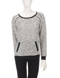 Cathy Daniels Women's Athleisure Textured Sweater - Black/White - Size: L