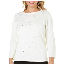 Alfred Dunner Women's Fall Classics Beaded Sweater - Ivory - Size: Medium