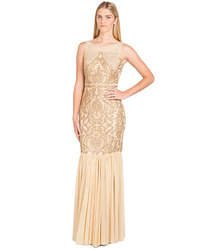 Badgley Mischka Allover Beaded Gown - Gold - Size: 4