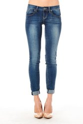 YMI Girls Wanna Betta Butt Rip & Tear Roll-Up Jeans - Denim Blue - Sz: 11