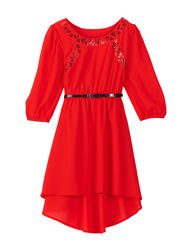 My Michelle Girls Studded Dress - Red - Size: 8