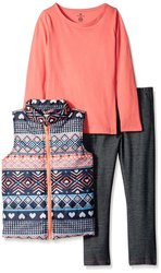 One Step Up Girl's 3 Pcs Vest & Leggings Set - Coral - Size: 7-16