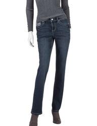 Earl Jean Dark Wash Lace Cross Embellished Slim Bootcut Jeans - Blue - 16