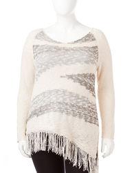 Signature Studio Women's Marled Fringe Sweater - White/Grey - Size: 2X