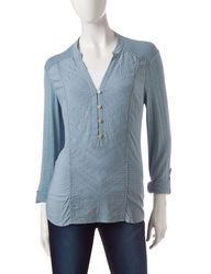 Democracy Women's Embroidered Solid Color Knit Top - Blue - Size: Medium