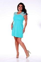 WM Women's Plus Size Lace Cutout Dress - Mint - Size: L