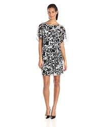 S.L. Fashions Women's  Printed Blouson Dress - Black/White/Grey - Size:10