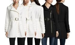 Steve Madden Asymetric Belted Coat - Black - Size: Medium