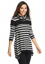 Joan Vass Women's Shark-Bite Turtleneck Sweater - Grey/Black - Size: S