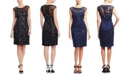 Sue Wong Women's Lace Illusion Neck Cocktail Dress - Black - Size: 8