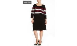 ThrSandra Darren Three Quarter Sleeve Printed Sweater Dress - Heather Gray - Size: 1X