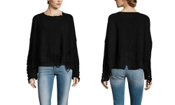 Fate Women's Long Sleeve Ribbed Sweater - Black - Size: Small