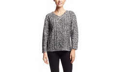 Pol Long Sleeve V-Neck Sweater - Navy - Size: Medium