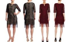 Emma & Michele Long Sleeve Shift Dress with Fringe Hem - Black - Size: L