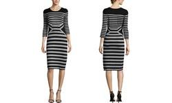 Julian Taylor Women's Sleeve Striped Sweater Dress - Black/Beige - Size: S