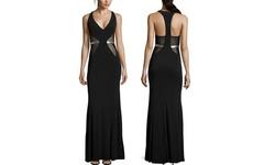 A.B.S. By Allen Schwartz Deep V-Neck Cutout Gown - Black - Size: Large