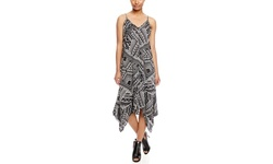 Mlle Gabrielle: Sleeveless Printed Scarf Dress -Black/White Multi - Size:L